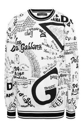 Женская хлопковый свитшот DOLCE & GABBANA черно-белого цвета, арт. F9I53T/FI79D | Фото 1