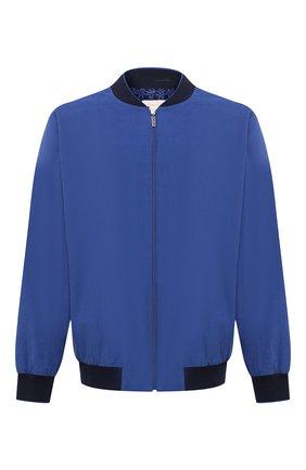 Мужской хлопковый бомбер ZILLI синего цвета, арт. MFU-02201-84070/0001/3XL-4XL   Фото 1 (Материал подклада: Шелк; Материал внешний: Хлопок; Мужское Кросс-КТ: Верхняя одежда; Принт: Без принта; Стили: Кэжуэл; Рукава: Длинные; Длина (верхняя одежда): Короткие; Кросс-КТ: Куртка)