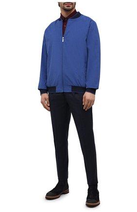 Мужской хлопковый бомбер ZILLI синего цвета, арт. MFU-02201-84070/0001/3XL-4XL   Фото 2 (Материал подклада: Шелк; Материал внешний: Хлопок; Мужское Кросс-КТ: Верхняя одежда; Принт: Без принта; Стили: Кэжуэл; Рукава: Длинные; Длина (верхняя одежда): Короткие; Кросс-КТ: Куртка)