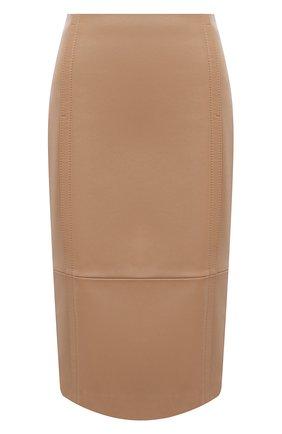 Женская кожаная юбка BOSS бежевого цвета, арт. 50436132 | Фото 1