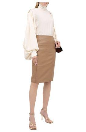Женская кожаная юбка BOSS бежевого цвета, арт. 50436132 | Фото 2