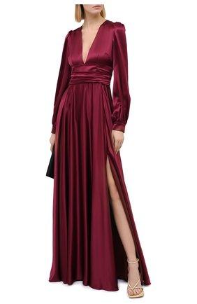 Женское шелковое платье DOLCE & GABBANA бордового цвета, арт. F6K2PT/FU1NG | Фото 2
