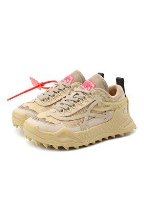 Женские комбинированные кроссовки odsy-1000 OFF-WHITE бежевого цвета, арт. 0WIA180E20FAB0016109 | Фото 1