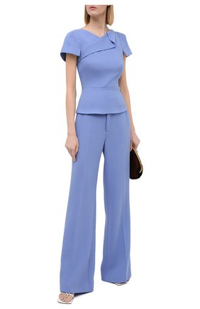 Женские шерстяные брюки ROLAND MOURET голубого цвета, арт. PW20/S5077/F4044 | Фото 2