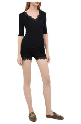 Женские шорты из шерсти и шелка HANRO черного цвета, арт. 072846 | Фото 2