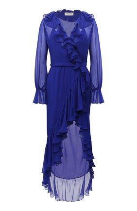 Женское шелковое платье SAINT LAURENT синего цвета, арт. 633941/Y115W | Фото 1
