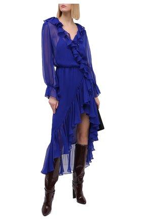 Женское шелковое платье SAINT LAURENT синего цвета, арт. 633941/Y115W | Фото 2