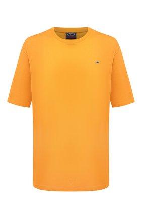 Мужская хлопковая футболка PAUL&SHARK желтого цвета, арт. C0P1092/C00/3XL-6XL   Фото 1