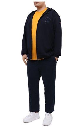 Мужская хлопковая футболка PAUL&SHARK желтого цвета, арт. C0P1092/C00/3XL-6XL   Фото 2