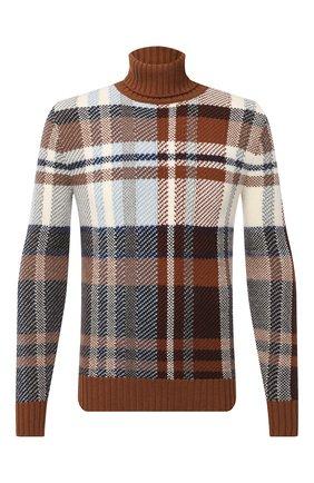 Мужской свитер из кашемира и шелка LORO PIANA коричневого цвета, арт. FAL3433   Фото 1