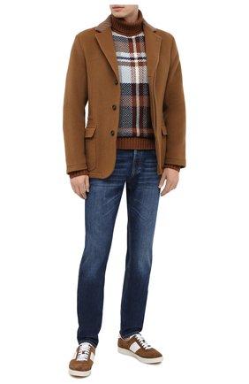 Мужской свитер из кашемира и шелка LORO PIANA коричневого цвета, арт. FAL3433   Фото 2
