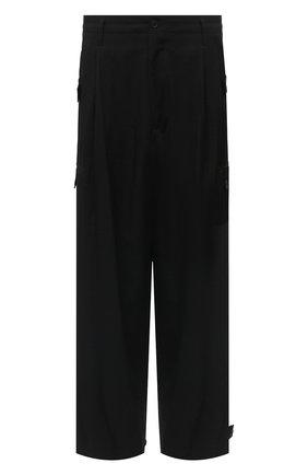 Мужские шерстяные брюки YOHJI YAMAMOTO черного цвета, арт. HR-P36-100 | Фото 1 (Материал внешний: Шерсть; Длина (брюки, джинсы): Стандартные; Случай: Повседневный; Стили: Минимализм)