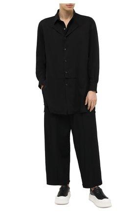 Мужские шерстяные брюки YOHJI YAMAMOTO черного цвета, арт. HR-P36-100 | Фото 2 (Материал внешний: Шерсть; Длина (брюки, джинсы): Стандартные; Случай: Повседневный; Стили: Минимализм)