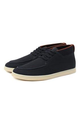 Мужские кожаные ботинки soho LORO PIANA темно-синего цвета, арт. FAL2903 | Фото 1