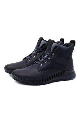 Мужские комбинированные ботинки STONE ISLAND темно-синего цвета, арт. 7315S0796 | Фото 1