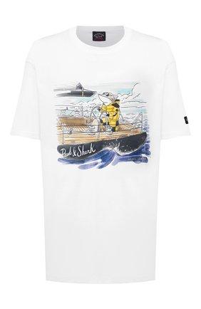 Мужская хлопковая футболка PAUL&SHARK белого цвета, арт. A20P1638/C00/3XL-6XL | Фото 1
