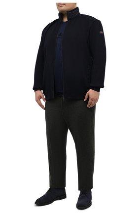 Мужская хлопковая футболка PAUL&SHARK темно-синего цвета, арт. A20P1678/C00/3XL-6XL | Фото 2