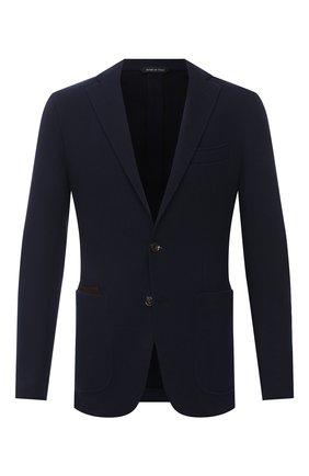Мужской пиджак из хлопка и шерсти LUCIANO BARBERA темно-синего цвета, арт. 111210/19051 | Фото 1