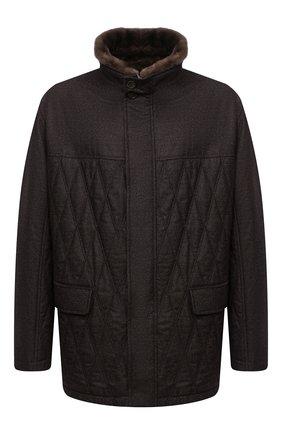 Шерстяная куртка с меховой отделкой | Фото №1