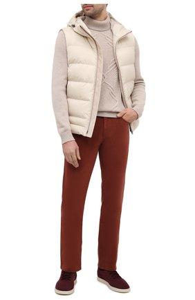 Мужские хлопковые брюки ZILLI коричневого цвета, арт. M0U-D0160-C0TE1/R001   Фото 2