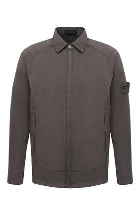 Мужская рубашка из хлопка и шерсти STONE ISLAND серого цвета, арт. 7315116F4 | Фото 1