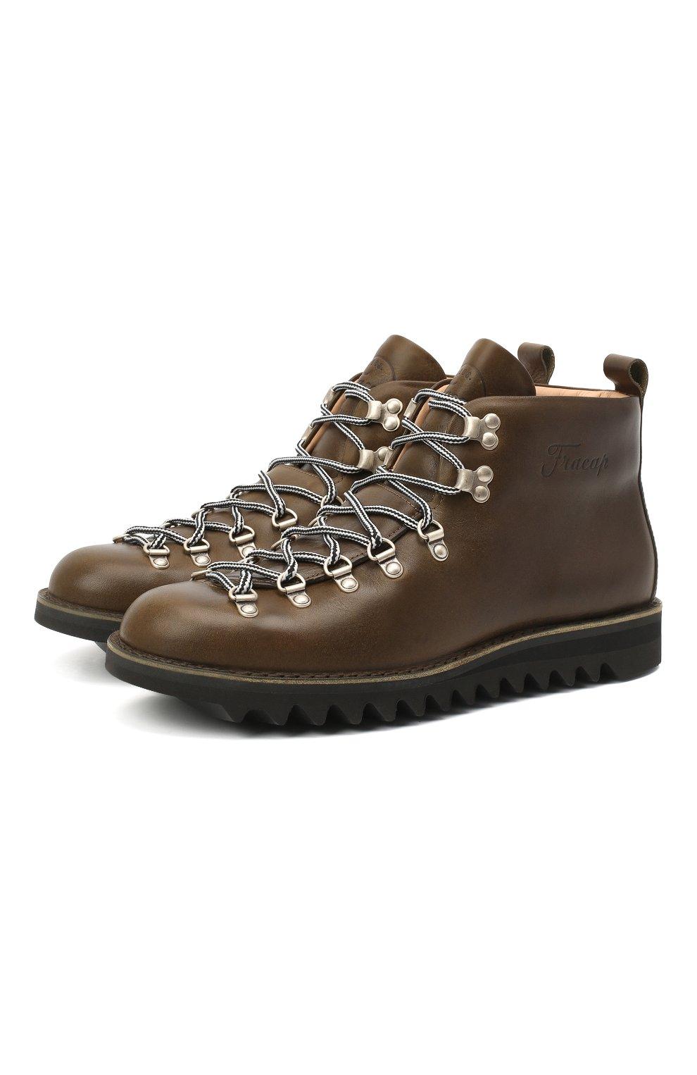 Мужские кожаные ботинки m120 FRACAP темно-зеленого цвета, арт. M120/NEBRASKA/CALFSKIN/SILVER ANTIK/RIPPLE   Фото 1