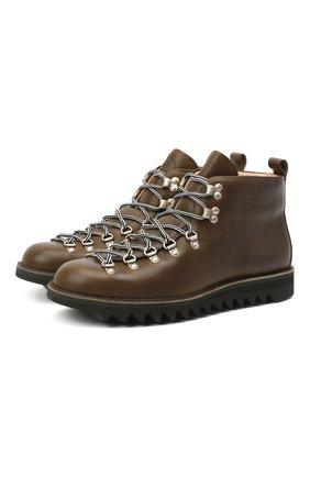 Мужские кожаные ботинки m120 FRACAP темно-зеленого цвета, арт. M120/NEBRASKA/CALFSKIN/SILVER ANTIK/RIPPLE | Фото 1