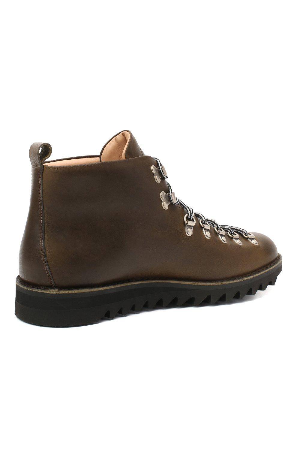 Мужские кожаные ботинки m120 FRACAP темно-зеленого цвета, арт. M120/NEBRASKA/CALFSKIN/SILVER ANTIK/RIPPLE   Фото 4