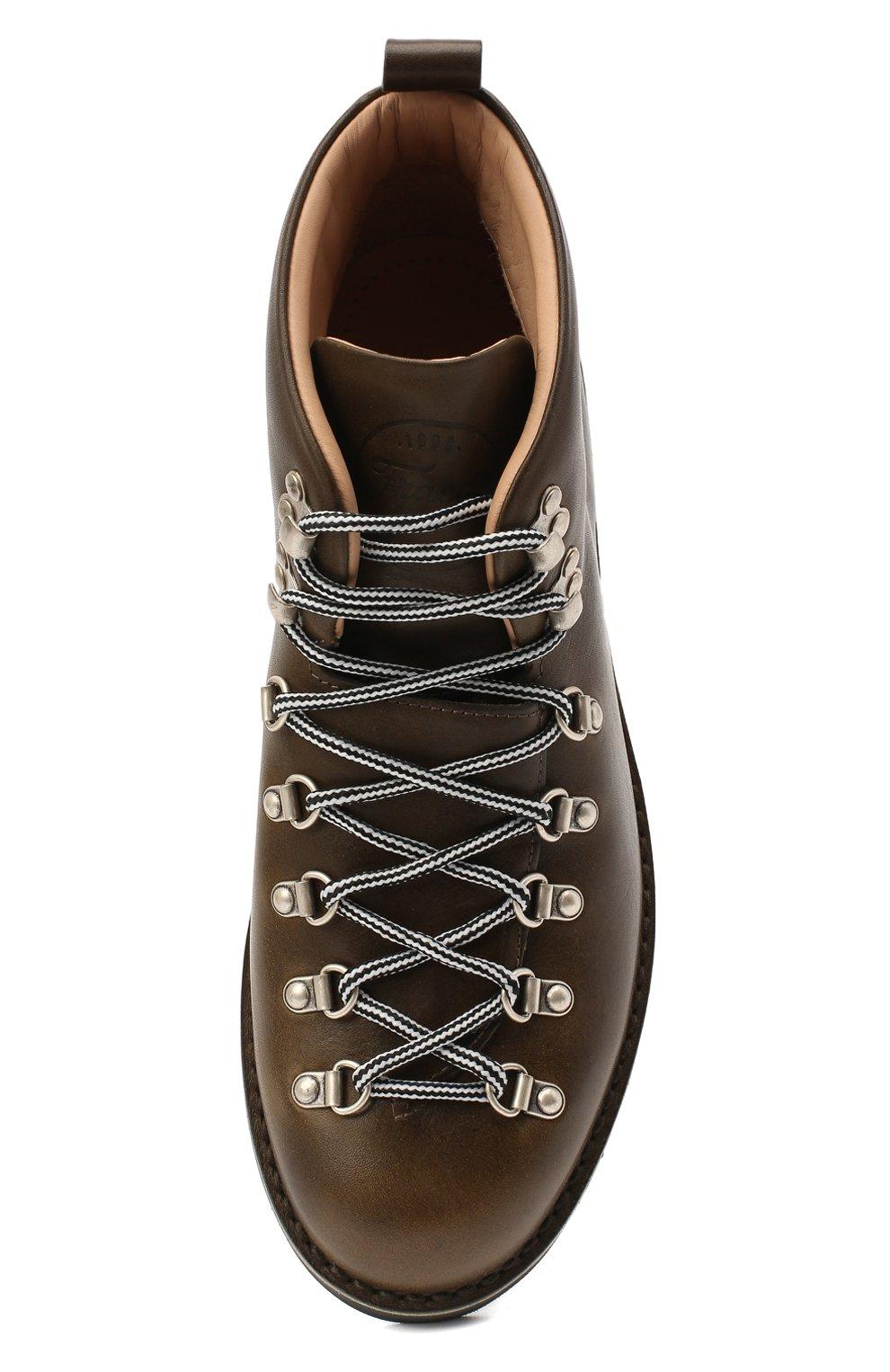 Мужские кожаные ботинки m120 FRACAP темно-зеленого цвета, арт. M120/NEBRASKA/CALFSKIN/SILVER ANTIK/RIPPLE   Фото 5