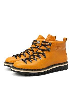 Мужские кожаные ботинки m120 FRACAP желтого цвета, арт. M120/NEBRASKA/GUARD.0NDA/CALFSKIN/BRUNITI/RIPPLE   Фото 1