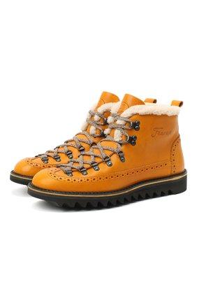 Мужские кожаные ботинки m130 FRACAP желтого цвета, арт. M130/NEBR./FUR/GUARD.PIATT0/CALFSKIN/BRUNITI/RIPPL | Фото 1