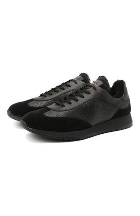 Мужские комбинированные кроссовки GIANVITO ROSSI черного цвета, арт. S25280.M1BLK.SBUNNNN | Фото 1