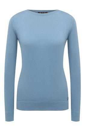 Женский пуловер из шелка и хлопка LORO PIANA голубого цвета, арт. FAI5188   Фото 1
