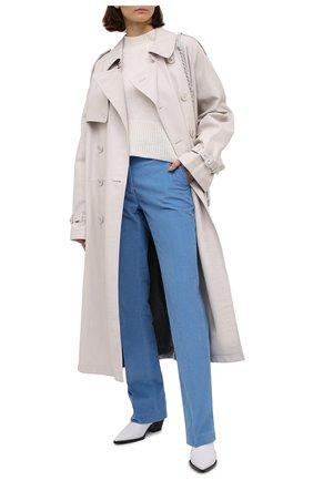 Женские хлопковые брюки VICTORIA BECKHAM голубого цвета, арт. 1320WTR001467D | Фото 2
