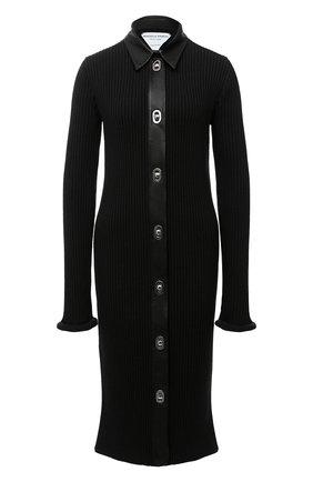 Женское платье из шерсти и хлопка BOTTEGA VENETA черного цвета, арт. 629363/VKVX0 | Фото 1