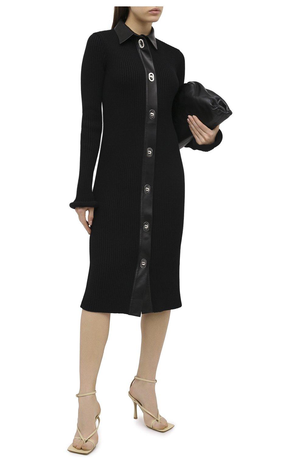 Женское платье из шерсти и хлопка BOTTEGA VENETA черного цвета, арт. 629363/VKVX0 | Фото 2