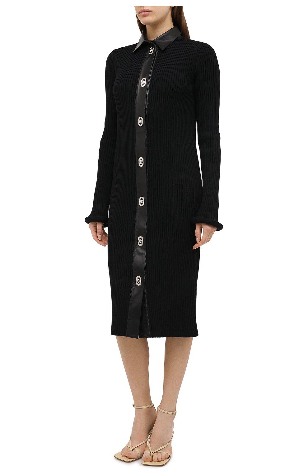 Женское платье из шерсти и хлопка BOTTEGA VENETA черного цвета, арт. 629363/VKVX0 | Фото 3