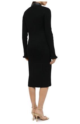 Женское платье из шерсти и хлопка BOTTEGA VENETA черного цвета, арт. 629363/VKVX0 | Фото 4