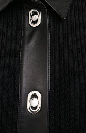 Женское платье из шерсти и хлопка BOTTEGA VENETA черного цвета, арт. 629363/VKVX0 | Фото 5
