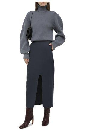 Женская шерстяная юбка JIL SANDER синего цвета, арт. JSWR355310-WR201000   Фото 2