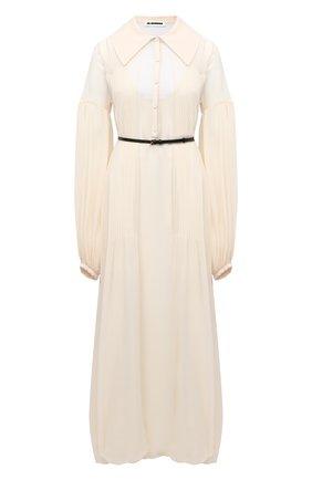 Женское шелковое платье JIL SANDER белого цвета, арт. JSWR505266-WR292900D | Фото 1