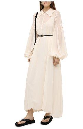 Женское шелковое платье JIL SANDER белого цвета, арт. JSWR505266-WR292900D | Фото 2