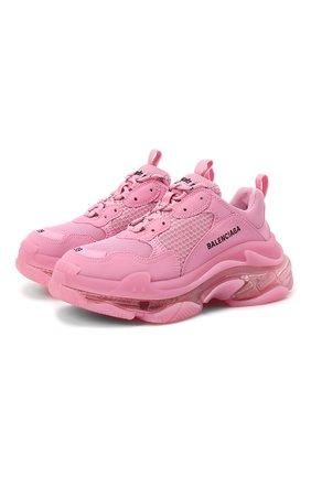 Женские текстильные кроссовки triple s BALENCIAGA розового цвета, арт. 544351/W2GA1 | Фото 1
