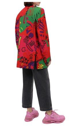Женские текстильные кроссовки triple s BALENCIAGA розового цвета, арт. 544351/W2GA1 | Фото 2