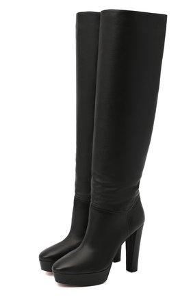 Женские кожаные сапоги chambord AQUAZZURA черного цвета, арт. CMBMIDB0-SCA-000 | Фото 1