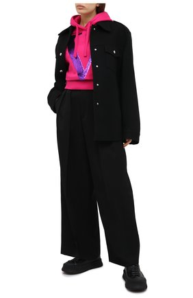 Женская хлопковое худи VALENTINO фуксия цвета, арт. UB3MF06U5R2 | Фото 2