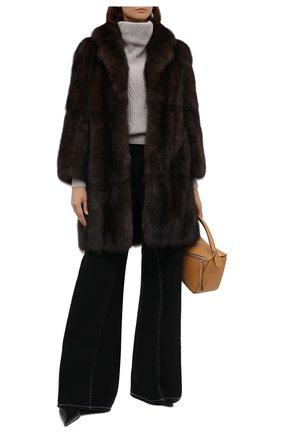Женская шуба из меха соболя MANZONI24 коричневого цвета, арт. 20M840-Z/38-46 | Фото 2