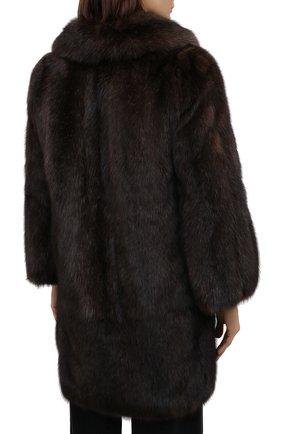 Женская шуба из меха соболя MANZONI24 коричневого цвета, арт. 20M840-Z/38-46 | Фото 4 (Женское Кросс-КТ: Мех; Рукава: Длинные; Материал внешний: Натуральный мех; Длина (верхняя одежда): До середины бедра; Материал подклада: Синтетический материал)