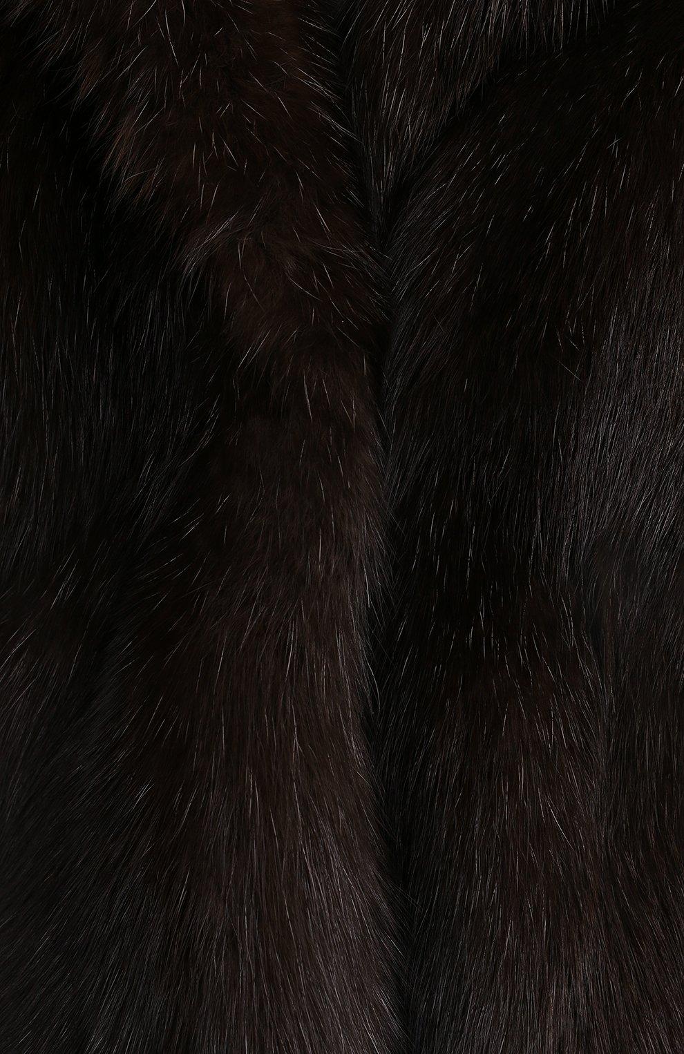 Женская шуба из меха соболя MANZONI24 коричневого цвета, арт. 20M840-Z/38-46 | Фото 5 (Женское Кросс-КТ: Мех; Рукава: Длинные; Материал внешний: Натуральный мех; Длина (верхняя одежда): До середины бедра; Материал подклада: Синтетический материал)