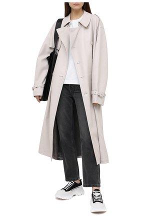 Женские текстильные кеды ALEXANDER MCQUEEN черно-белого цвета, арт. 611705/W4L32 | Фото 2